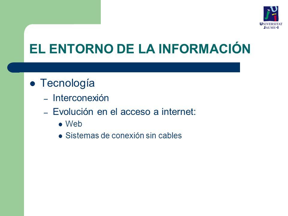 EL ENTORNO DE LA INFORMACIÓN Tecnología – Interconexión – Evolución en el acceso a internet: Web Sistemas de conexión sin cables