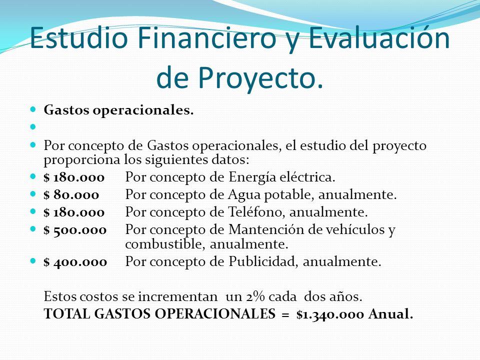 Estudio Financiero y Evaluación de Proyecto.Gastos operacionales.