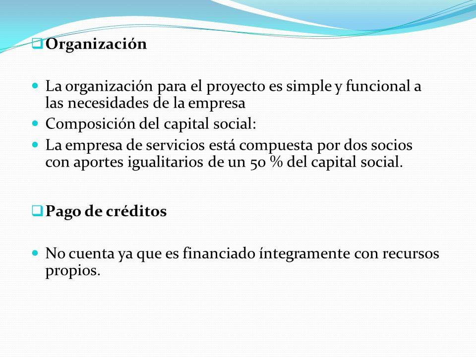 Organización La organización para el proyecto es simple y funcional a las necesidades de la empresa Composición del capital social: La empresa de servicios está compuesta por dos socios con aportes igualitarios de un 50 % del capital social.