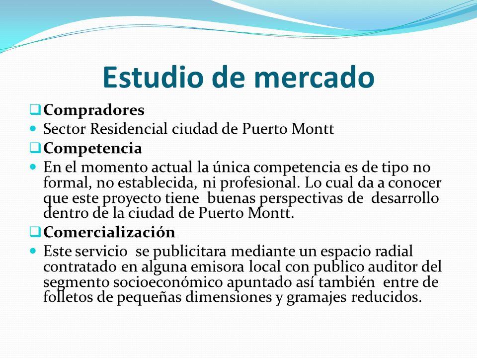Estudio de mercado Compradores Sector Residencial ciudad de Puerto Montt Competencia En el momento actual la única competencia es de tipo no formal, no establecida, ni profesional.