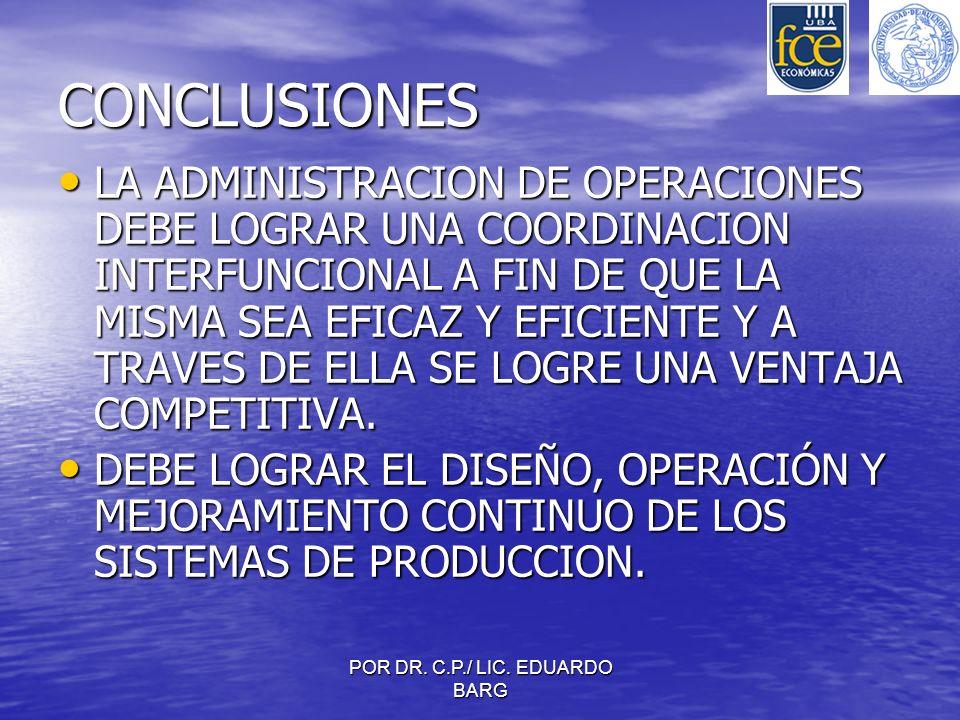 POR DR. C.P./ LIC. EDUARDO BARG CONCLUSIONES LA ADMINISTRACION DE OPERACIONES DEBE LOGRAR UNA COORDINACION INTERFUNCIONAL A FIN DE QUE LA MISMA SEA EF