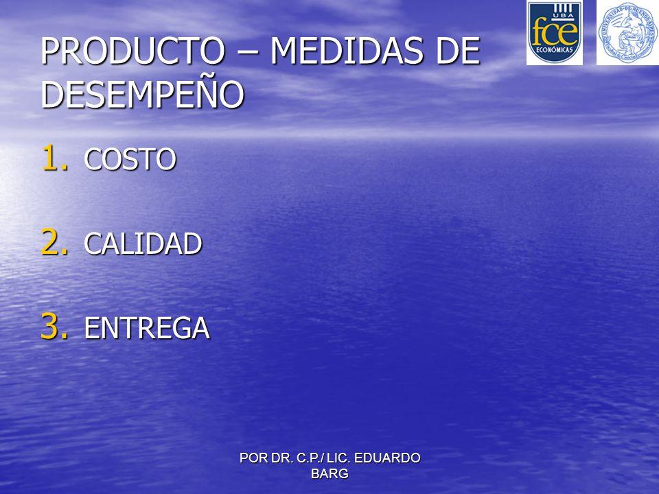 POR DR. C.P./ LIC. EDUARDO BARG PRODUCTO – MEDIDAS DE DESEMPEÑO 1. COSTO 2. CALIDAD 3. ENTREGA