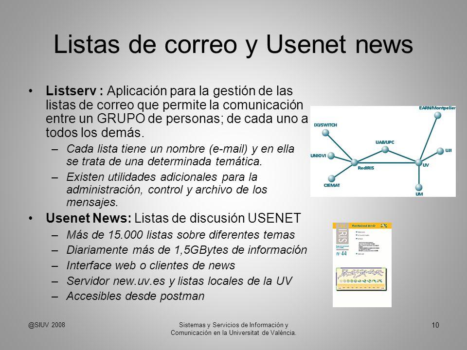 Listas de correo y Usenet news Listserv : Aplicación para la gestión de las listas de correo que permite la comunicación entre un GRUPO de personas; d