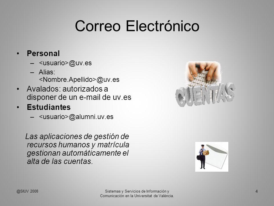 Correo Electrónico Personal – @uv.es –Alias: @uv.es Avalados: autorizados a disponer de un e-mail de uv.es Estudiantes – @alumni.uv.es Las aplicacione