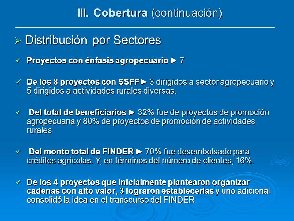 III. Cobertura (continuación) Distribución por Sectores Distribución por Sectores Proyectos con énfasis agropecuario 7 Proyectos con énfasis agropecua
