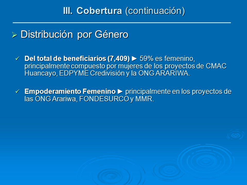Distribución por Género Distribución por Género III. Cobertura (continuación) Del total de beneficiarios (7,409) 59% es femenino, principalmente compu