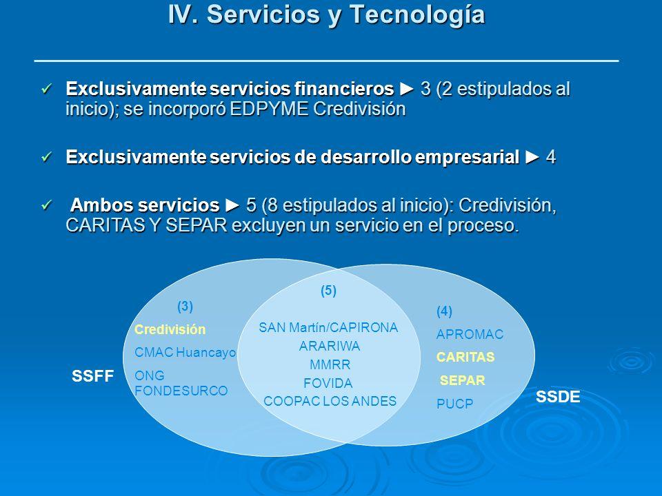 IV. Servicios y Tecnología Exclusivamente servicios financieros 3 (2 estipulados al inicio); se incorporó EDPYME Credivisión Exclusivamente servicios