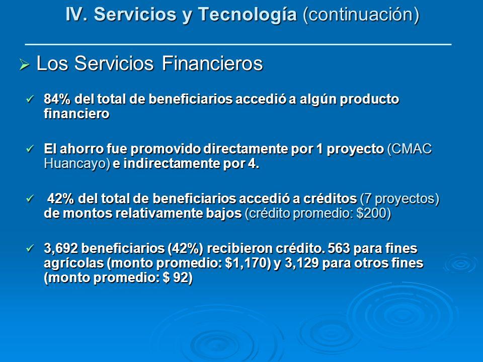 IV. Servicios y Tecnología (continuación) Los Servicios Financieros Los Servicios Financieros 84% del total de beneficiarios accedió a algún producto