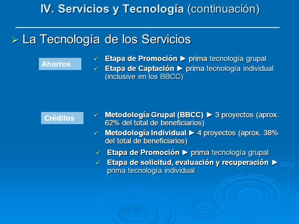 IV. Servicios y Tecnología (continuación) La Tecnología de los Servicios La Tecnología de los Servicios Etapa de Promoción prima tecnología grupal Eta