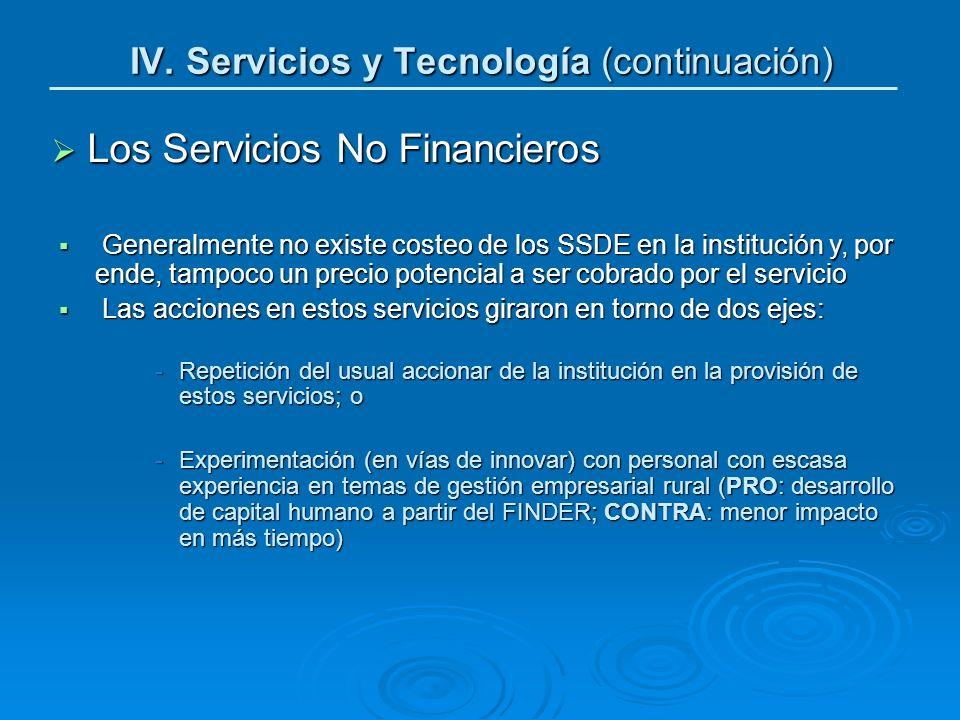 Los Servicios No Financieros Los Servicios No Financieros Generalmente no existe costeo de los SSDE en la institución y, por ende, tampoco un precio p