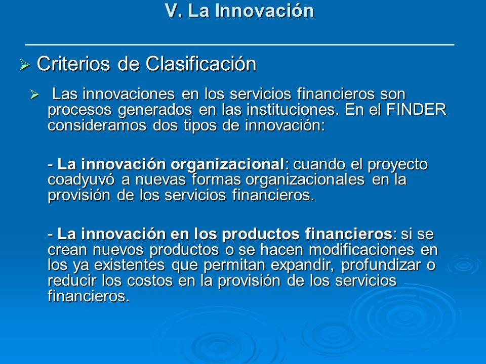V. La Innovación Criterios de Clasificación Criterios de Clasificación Las innovaciones en los servicios financieros son procesos generados en las ins