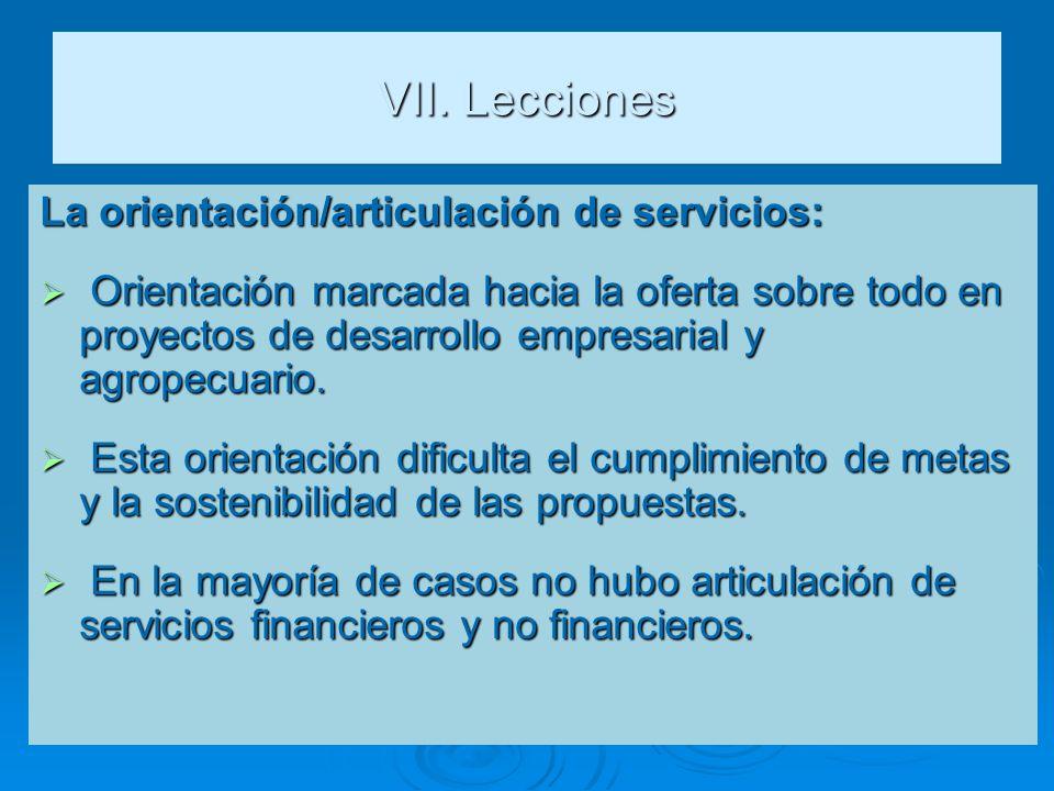 VII. Lecciones La orientación/articulación de servicios: Orientación marcada hacia la oferta sobre todo en proyectos de desarrollo empresarial y agrop