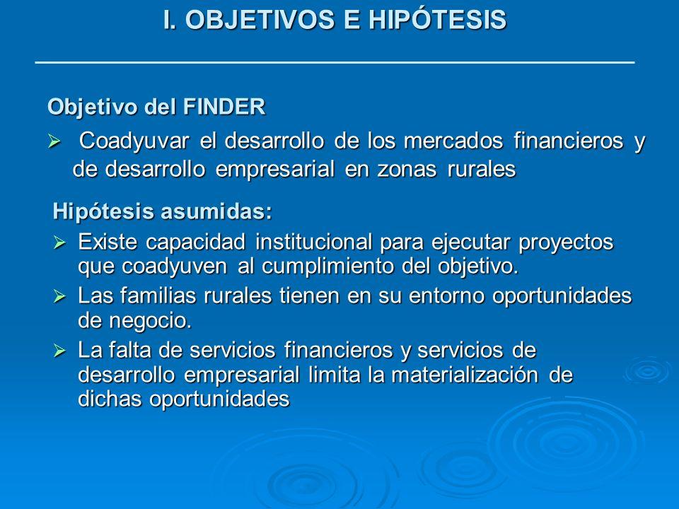I. OBJETIVOS E HIPÓTESIS Objetivo del FINDER Coadyuvar el desarrollo de los mercados financieros y de desarrollo empresarial en zonas rurales Coadyuva