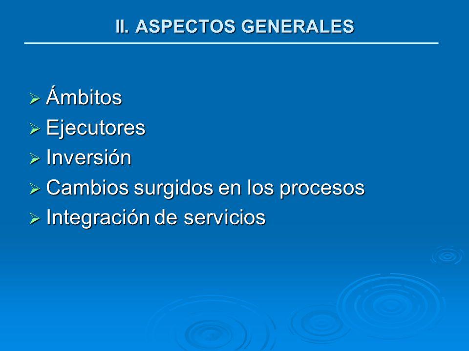 Ámbitos Ámbitos Ejecutores Ejecutores Inversión Inversión Cambios surgidos en los procesos Cambios surgidos en los procesos Integración de servicios I