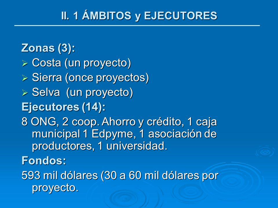 II. 1 ÁMBITOS y EJECUTORES Zonas (3): Costa (un proyecto) Costa (un proyecto) Sierra (once proyectos) Sierra (once proyectos) Selva (un proyecto) Selv