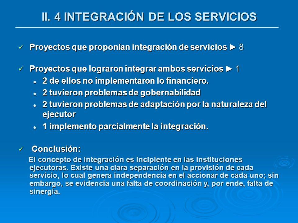 Proyectos que proponían integración de servicios 8 Proyectos que proponían integración de servicios 8 Proyectos que lograron integrar ambos servicios