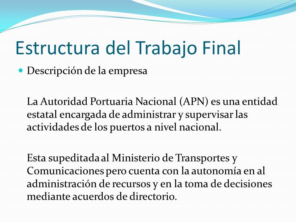 Estructura del Trabajo Final Descripción de la empresa La Autoridad Portuaria Nacional (APN) es una entidad estatal encargada de administrar y supervisar las actividades de los puertos a nivel nacional.