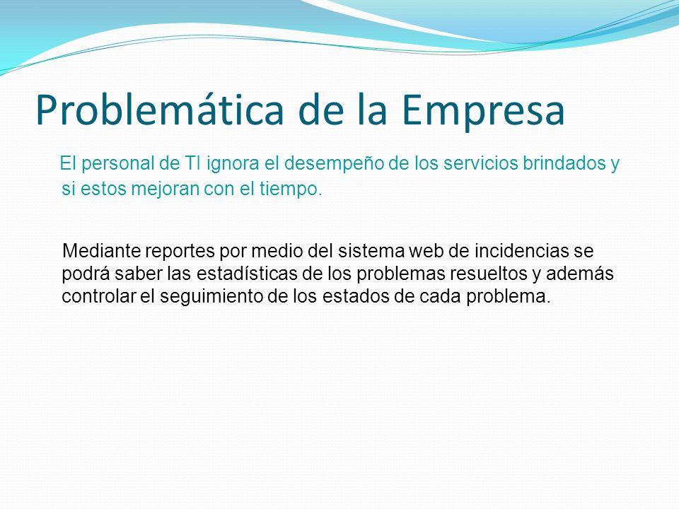 Problemática de la Empresa El personal de TI ignora el desempeño de los servicios brindados y si estos mejoran con el tiempo. Mediante reportes por me