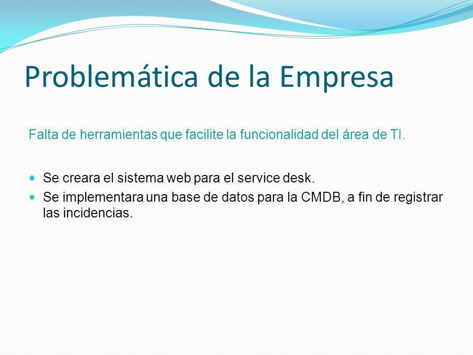 Problemática de la Empresa Falta de herramientas que facilite la funcionalidad del área de TI. Se creara el sistema web para el service desk. Se imple