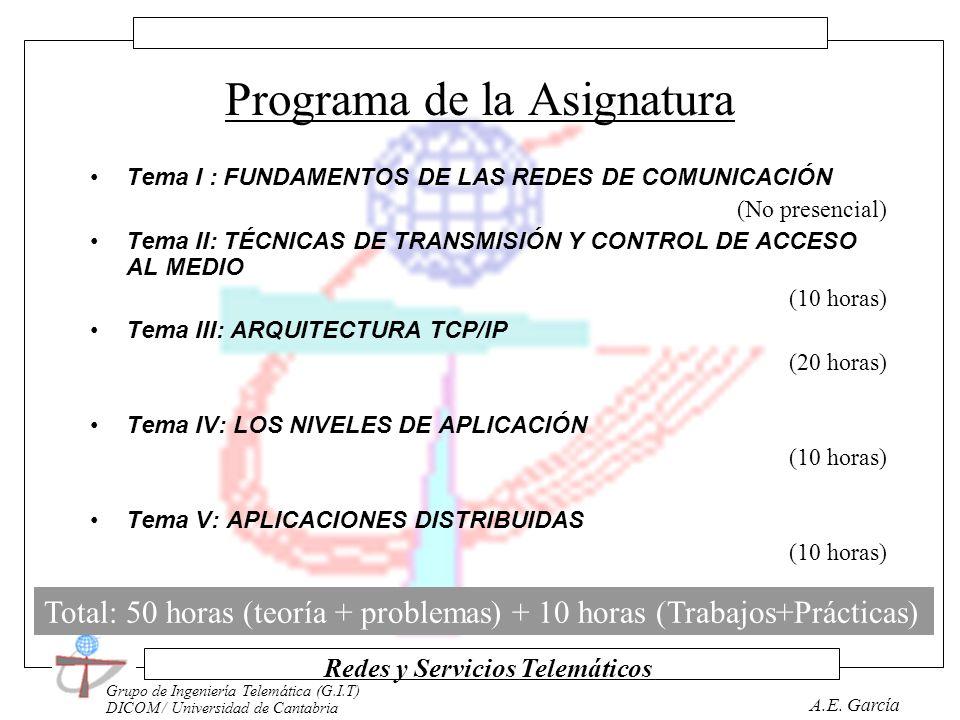 Grupo de Ingeniería Telemática (G.I.T) DICOM / Universidad de Cantabria Redes y Servicios Telemáticos A.E. García Horarios LunesMartesMiércolesJuevesV
