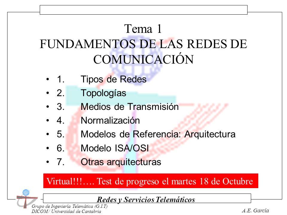 Grupo de Ingeniería Telemática (G.I.T) DICOM / Universidad de Cantabria Redes y Servicios Telemáticos A.E. García Programa de la Asignatura Tema I : F
