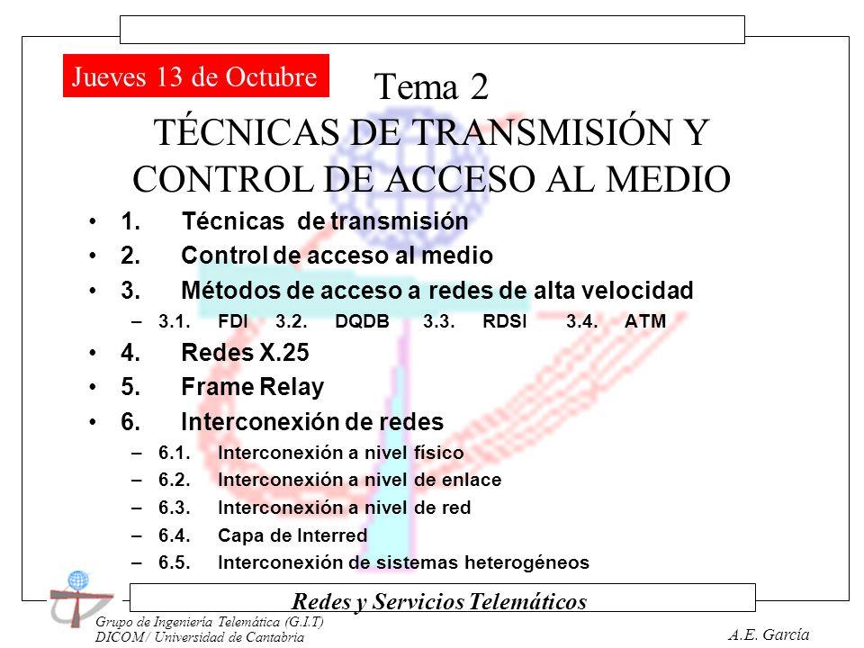 Grupo de Ingeniería Telemática (G.I.T) DICOM / Universidad de Cantabria Redes y Servicios Telemáticos A.E. García Tema 1 FUNDAMENTOS DE LAS REDES DE C