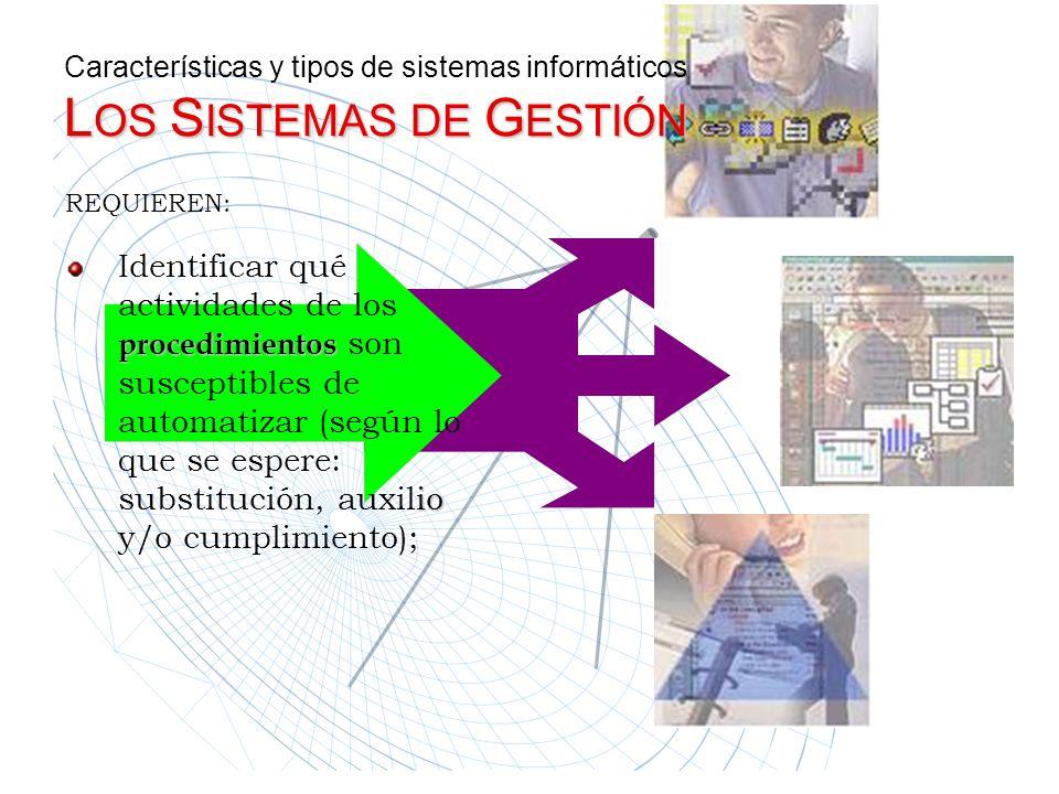 L OS S ISTEMAS DE G ESTIÓN Características y tipos de sistemas informáticos L OS S ISTEMAS DE G ESTIÓN REQUIEREN: Identificar qué actividades de los p