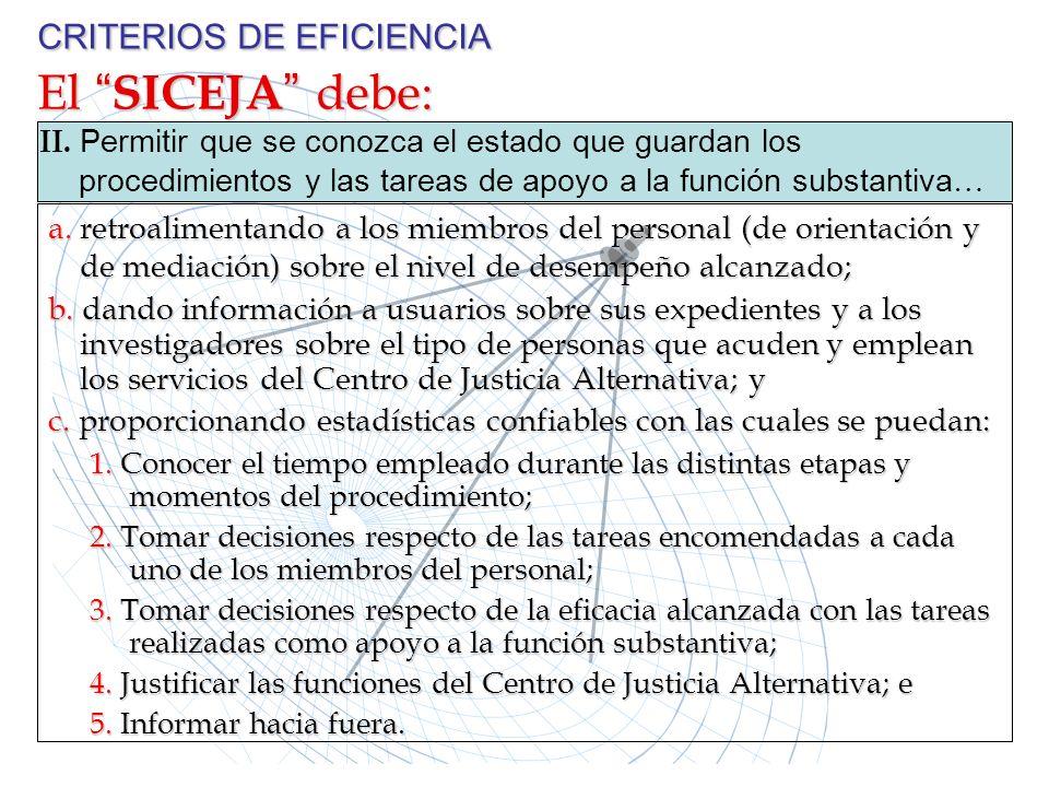 CRITERIOS DE EFICIENCIA El SICEJA debe: II. P ermitir que se conozca el estado que guardan los procedimientos y las tareas de apoyo a la función subst