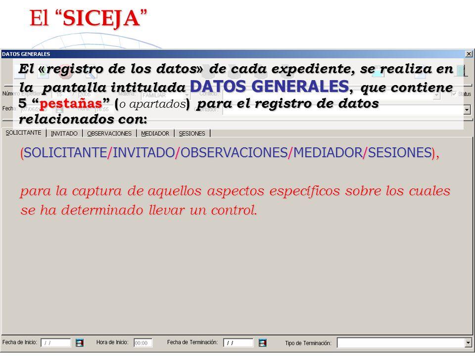 El «registro de los datos» de cada expediente, se realiza en la pantalla intitulada DATOS GENERALES, que contiene 5 pestañas ( o apartados) para el re