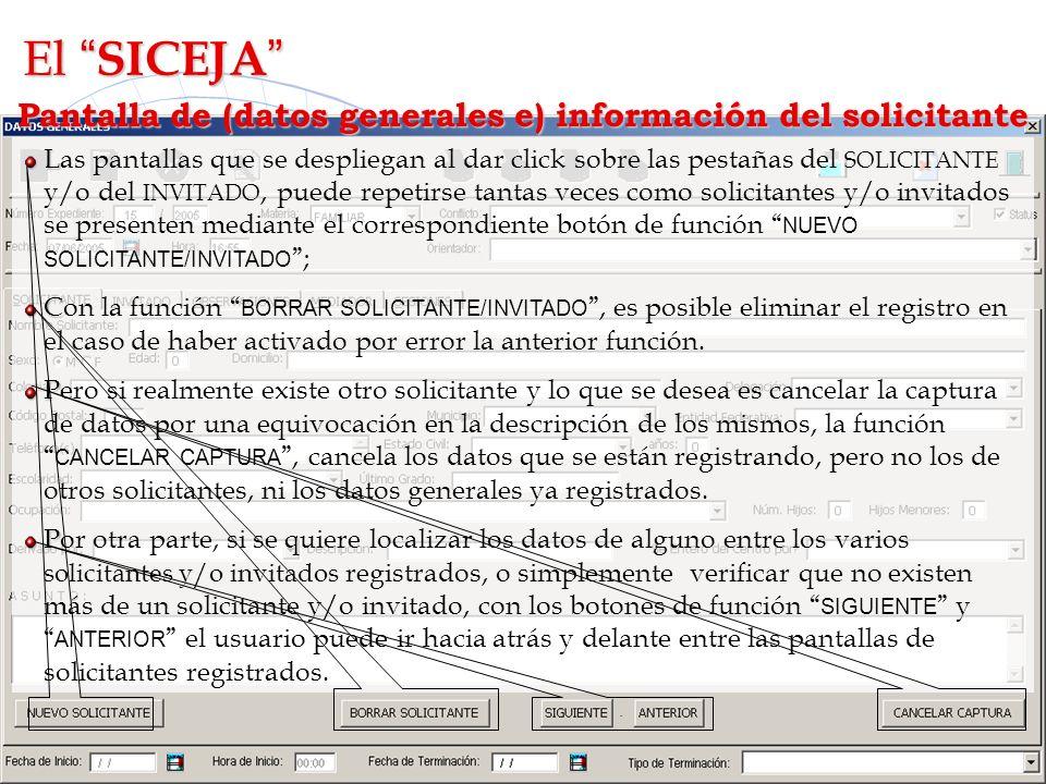 Pantalla de (datos generales e) información del solicitante L Las pantallas que se despliegan al dar click sobre las pestañas del SOLICITANTE y/o del