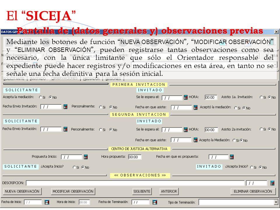 Pantalla de (datos generales y) observaciones previas Mediante los botones de función NUEVA OBSERVACIÓN, MODIFICAR OBSERVACIÓN y ELIMINAR OBSERVACIÓN,