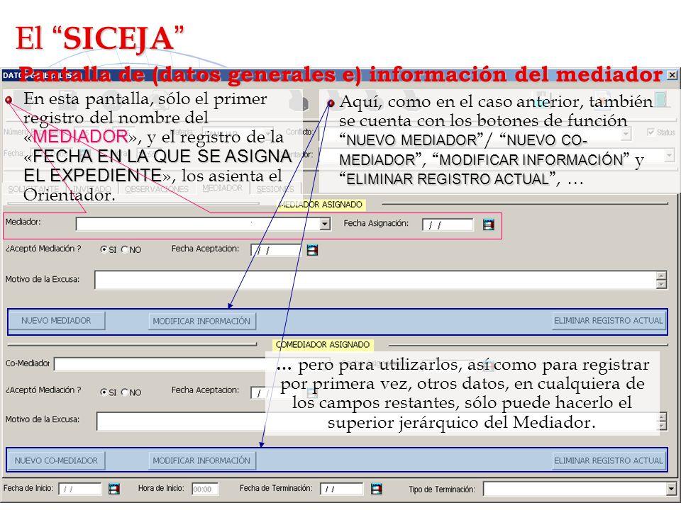 Pantalla de (datos generales e) información del mediador Aquí, como en el caso anterior, también se cuenta con los botones de función NUEVO MEDIADOR /