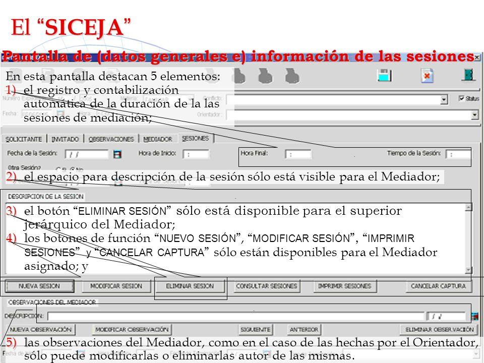 Pantalla de (datos generales e) información de las sesiones En esta pantalla destacan 5 elementos: 1)e l registro y contabilización automática de la d