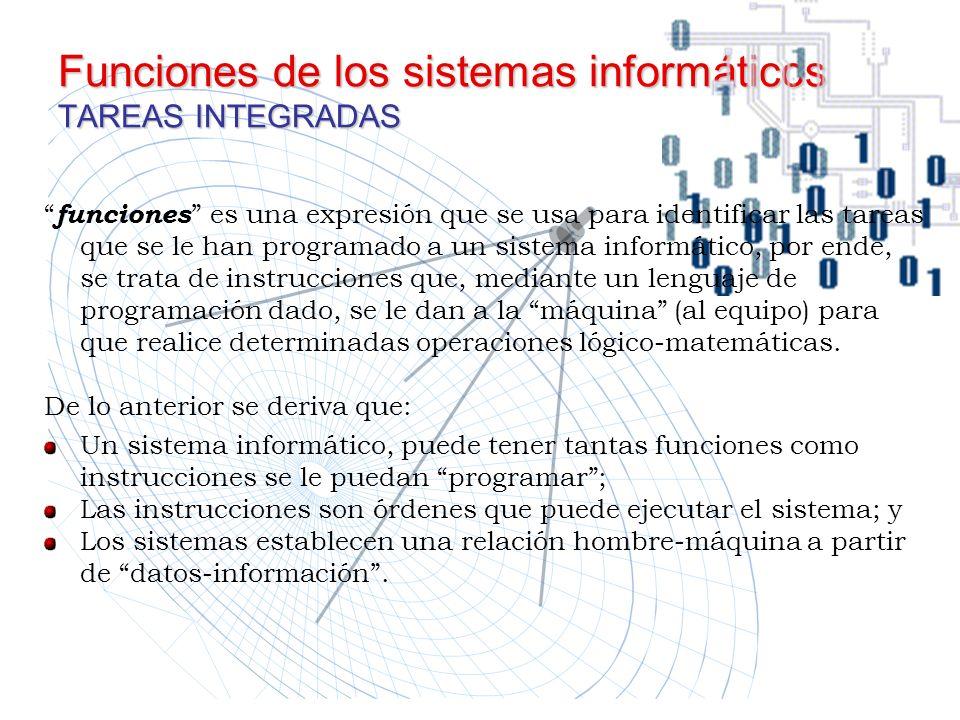 Funciones de los sistemas informáticos TAREAS INTEGRADAS funciones es una expresión que se usa para identificar las tareas que se le han programado a