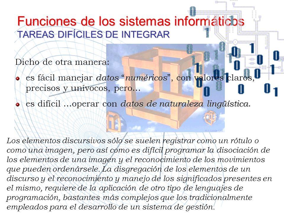 Funciones de los sistemas informáticos TAREAS DIFÍCILES DE INTEGRAR Los elementos discursivos sólo se suelen registrar como un rótulo o como una image