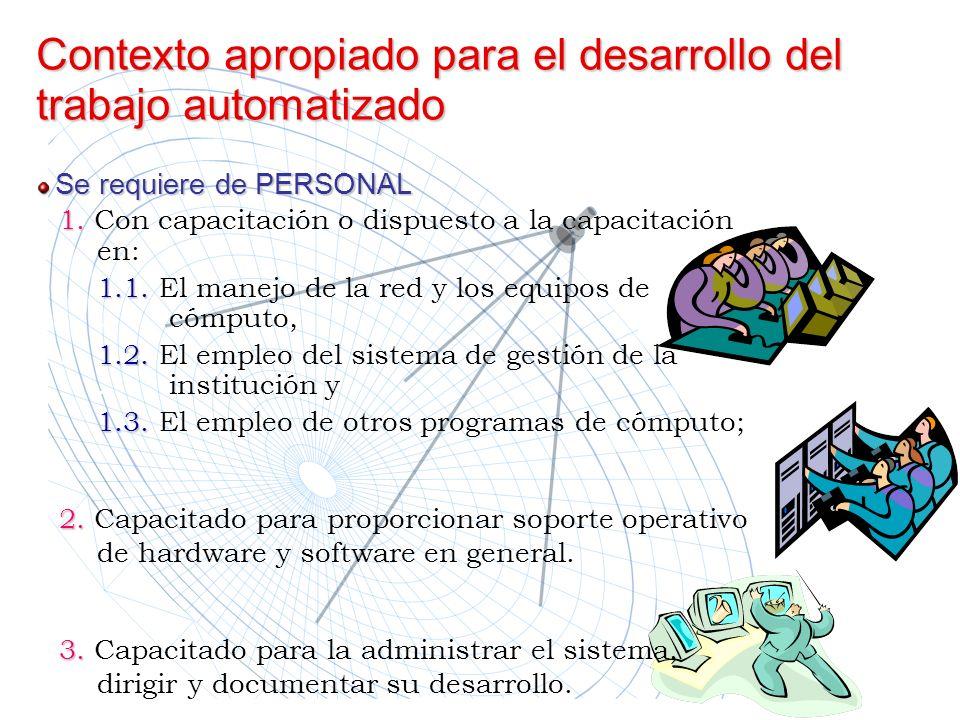 Contexto apropiado para el desarrollo del trabajo automatizado 1. Con capacitación o dispuesto a la capacitación en:.1.1. El manejo de la red y los eq