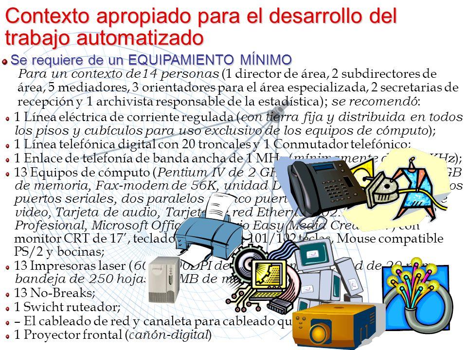 1 Línea eléctrica de corriente regulada ( con tierra fija y distribuida en todos los pisos y cubículos para uso exclusivo de los equipos de cómputo );