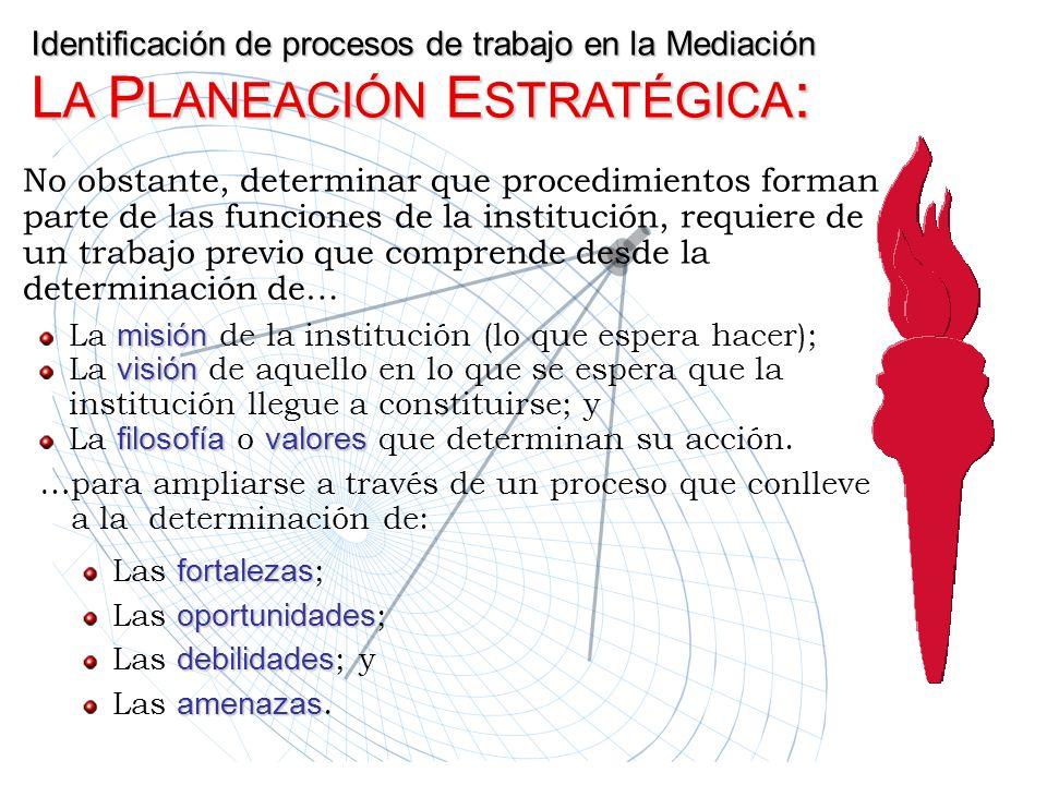 Identificación de procesos de trabajo en la Mediación LA PLANEACIÓN ESTRATÉGICA: La m mm misión de la institución (lo que espera hacer); La v vv visió
