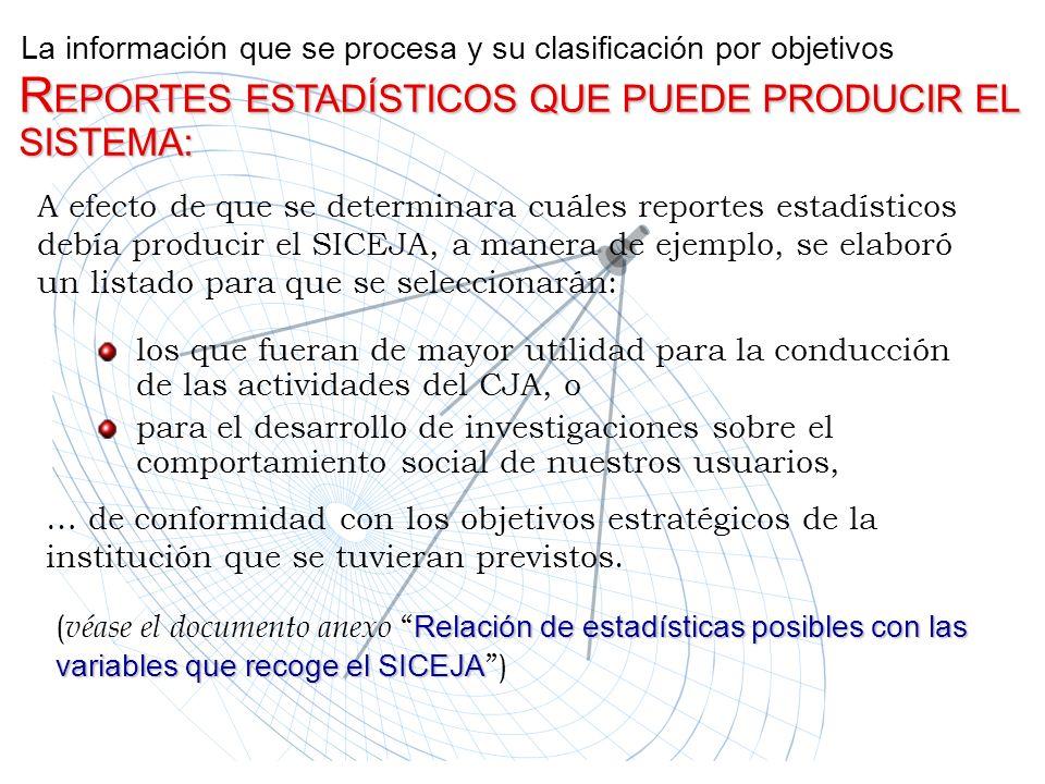 La información que se procesa y su clasificación por objetivos A efecto de que se determinara cuáles reportes estadísticos debía producir el SICEJA, a