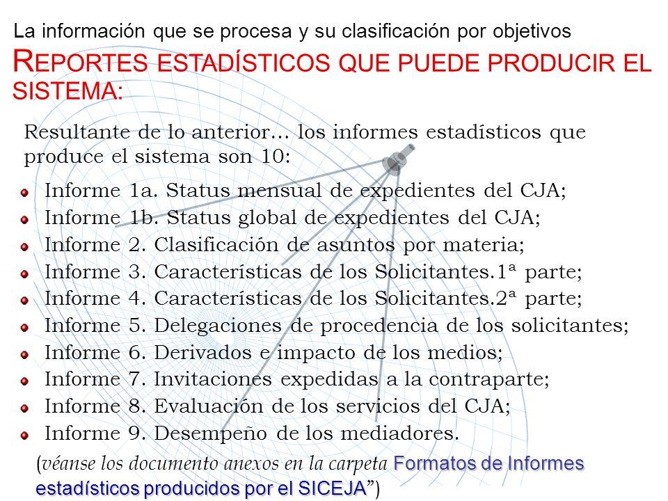 La información que se procesa y su clasificación por objetivos Resultante de lo anterior… los informes estadísticos que produce el sistema son 10: R E
