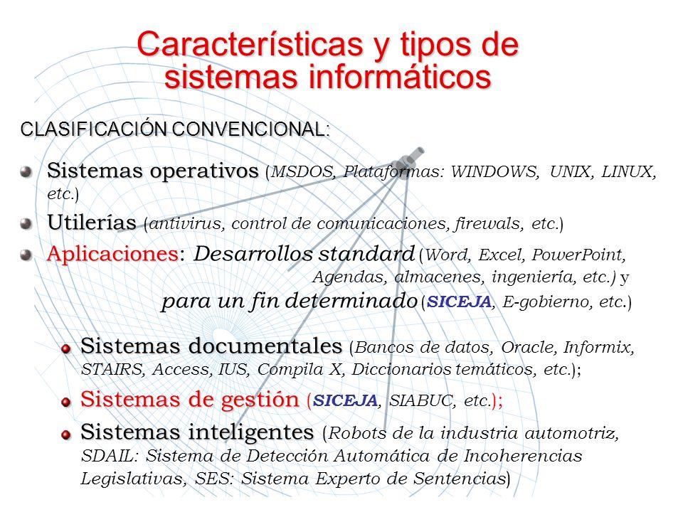 Características y tipos de sistemas informáticos CLASIFICACIÓN CONVENCIONAL: Sistemas operativos ( MSDOS, Plataformas:.WINDOWS, UNIX, LINUX, etc. ) Ut