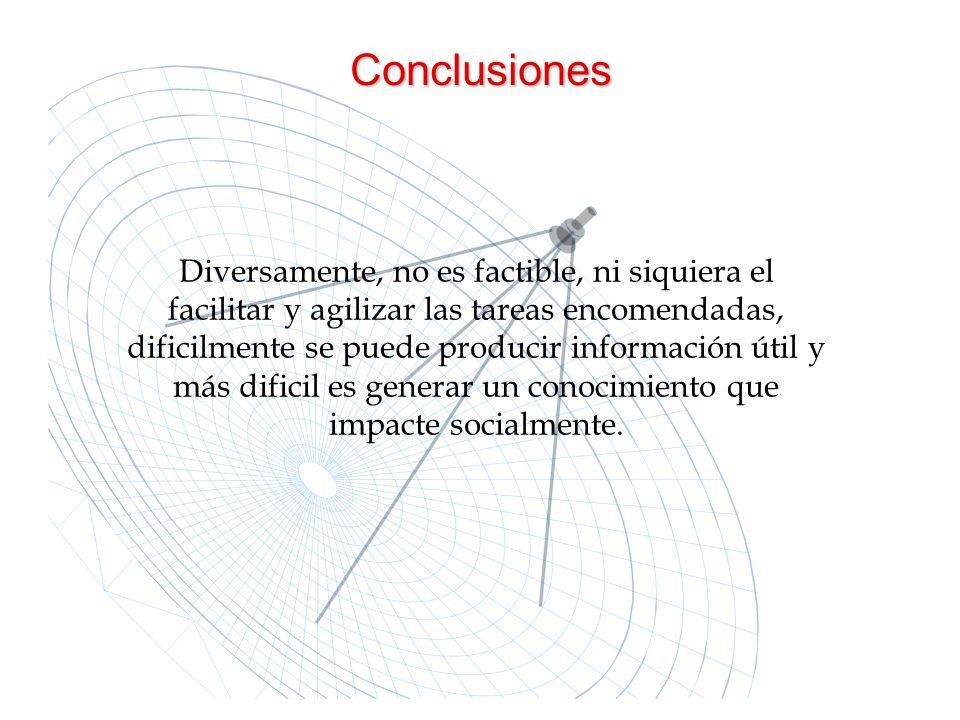 Conclusiones Diversamente, no es factible, ni siquiera el facilitar y agilizar las tareas encomendadas, dificilmente se puede producir información úti