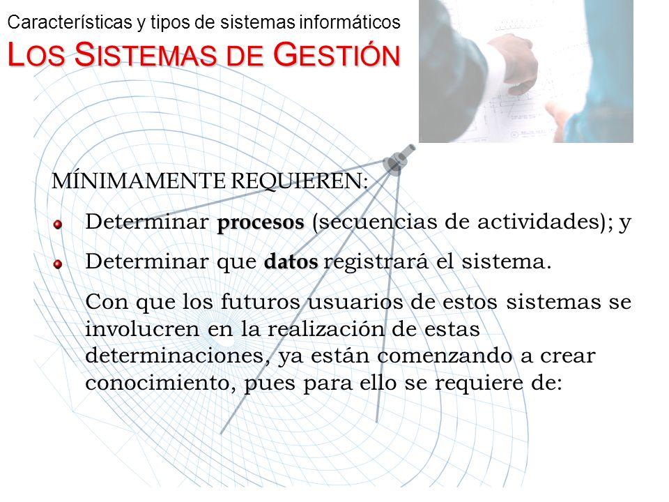 L OS S ISTEMAS DE G ESTIÓN Características y tipos de sistemas informáticos L OS S ISTEMAS DE G ESTIÓN MÍNIMAMENTE REQUIEREN: Determinar p pp procesos