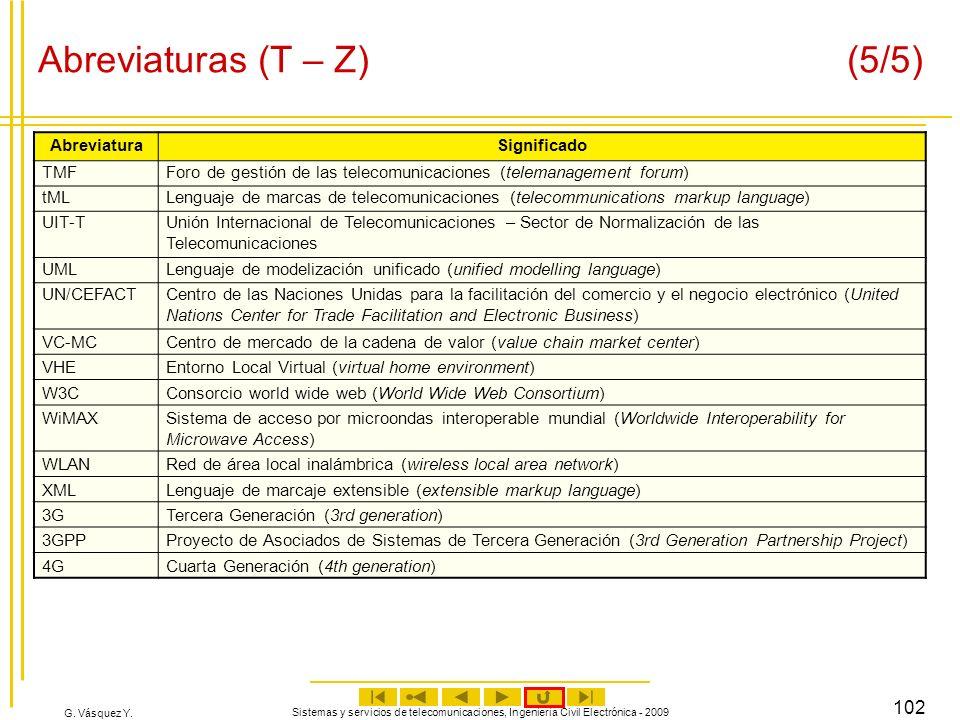 G. Vásquez Y. Sistemas y servicios de telecomunicaciones, Ingeniería Civil Electrónica - 2009 102 Abreviaturas (T – Z) (5/5) AbreviaturaSignificado TM