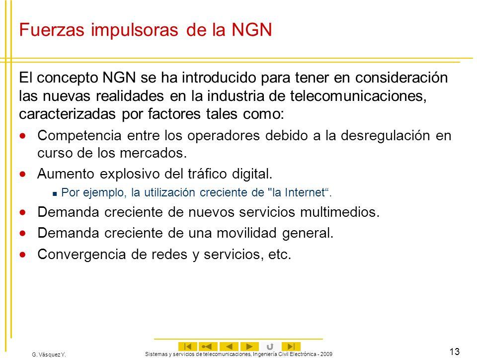 G. Vásquez Y. Sistemas y servicios de telecomunicaciones, Ingeniería Civil Electrónica - 2009 13 Fuerzas impulsoras de la NGN El concepto NGN se ha in