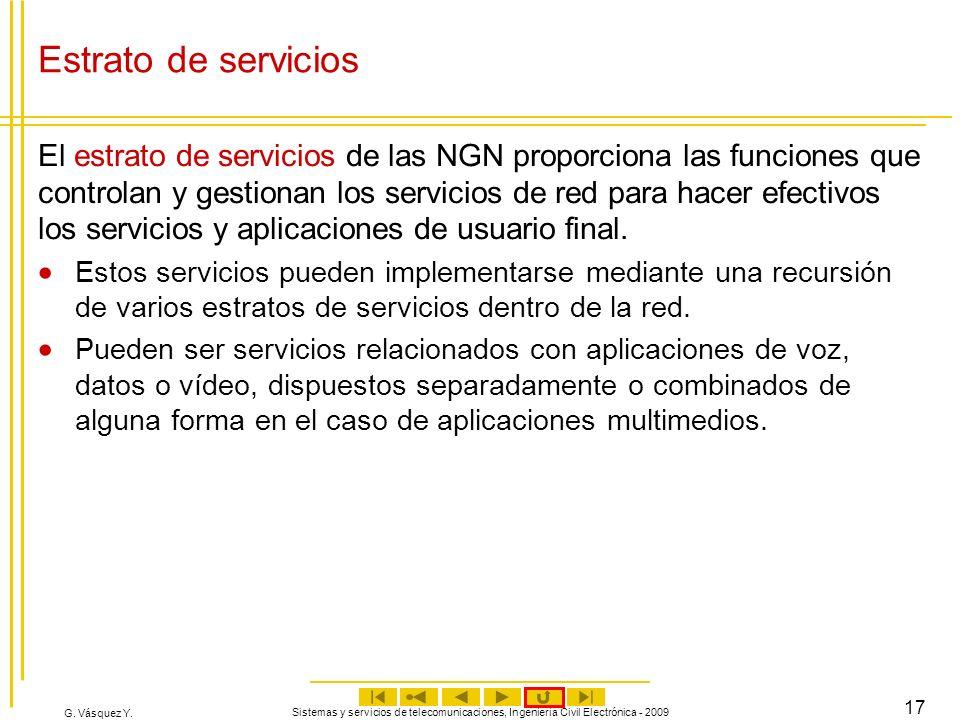 G. Vásquez Y. Sistemas y servicios de telecomunicaciones, Ingeniería Civil Electrónica - 2009 17 Estrato de servicios El estrato de servicios de las N