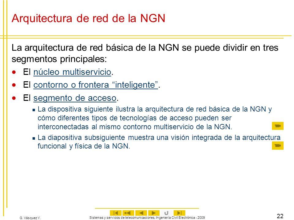 G. Vásquez Y. Sistemas y servicios de telecomunicaciones, Ingeniería Civil Electrónica - 2009 22 Arquitectura de red de la NGN La arquitectura de red