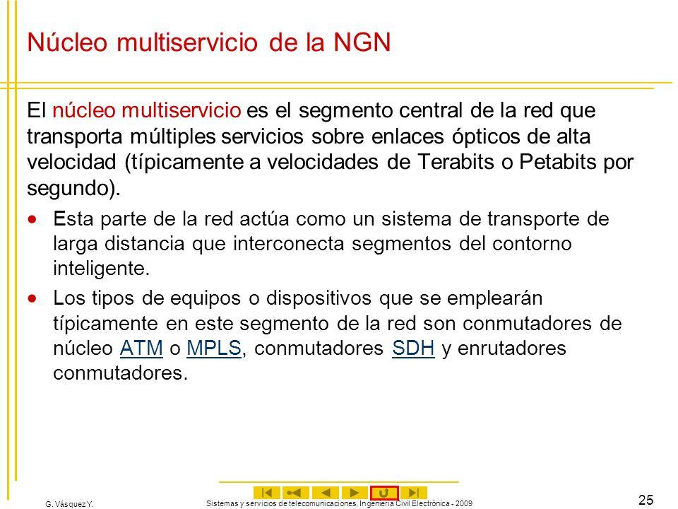 G. Vásquez Y. Sistemas y servicios de telecomunicaciones, Ingeniería Civil Electrónica - 2009 25 Núcleo multiservicio de la NGN El núcleo multiservici