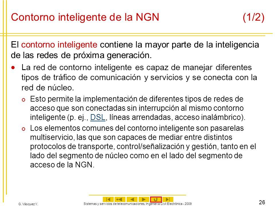 G. Vásquez Y. Sistemas y servicios de telecomunicaciones, Ingeniería Civil Electrónica - 2009 26 Contorno inteligente de la NGN (1/2) El contorno inte
