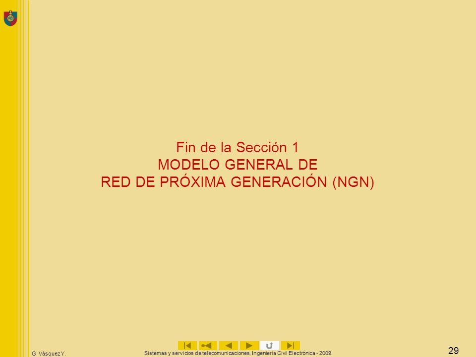 G. Vásquez Y. Sistemas y servicios de telecomunicaciones, Ingeniería Civil Electrónica - 2009 29 Fin de la Sección 1 MODELO GENERAL DE RED DE PRÓXIMA